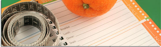graphic banner of a diet journal, accompanied by an orange and tape measure