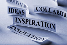 words on pieces of paper, including: ideas, inspiration, collaboration, and innovation
