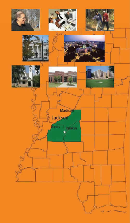 A map of Mississippi highlighting the sampling frame for the Jackson Heart Study - city of Jackson, the capitol, and three surrounding counties, Madison, Hinds and Rankin.   Also 8 pictures -an evening aerial photo of the city of Jackson, the capitol building, the 3 Jackson Heart Study partnering Institutions - Jackson State University, University of Mississippi Medical Center, and Tougaloo College, and 3 pictures showing people enjoying a walk, study staff, and patient receiving a clinical exam.