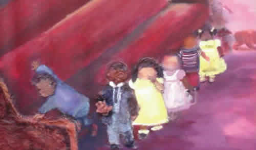 'Enter the Beginners'-- painting by Johnnie M. Gilbert .  Church scene – six young African American children (ages 5-3) all marching to their seats.