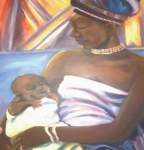 'Greatest Bond' -- painting by Johnnie M. Gilbert.  Woman dressed in white adoringly holds a baby swaddled in a white blanket.