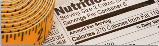 graphic banner of a yellow tape measure next to nutrition information on packaging