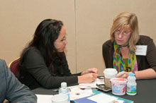 Desire LaTempa (left), HHC Woodhull, and Lauri Sweetman, AAAAI, at a NACI meeting in Baltimore, MD.