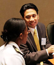 Dr. Michael Cabana in dialogue with another participant at a NACI meeting in Baltimore, MD.