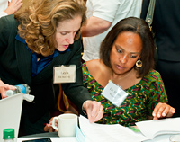 Leyla McCurdy, M.Phil. (left), National Environmental Education Foundation, and Helen Ragazzi, M.D., Medical Society of Virginia Foundation, confer at a NACI meeting in Baltimore, MD.