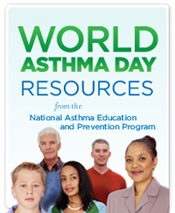 Web button for World Asthma Day and Asthma Awareness Month