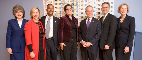 Karen Donato (NHLBI), Laurie M. Tisch, John Rhea (Chairman, New York City Housing Authority), Halley K. Harrisburg (CMOM Board Chair), Mayor Bloomberg, Andy Ackerman, Dr. Elizabeth Nabel