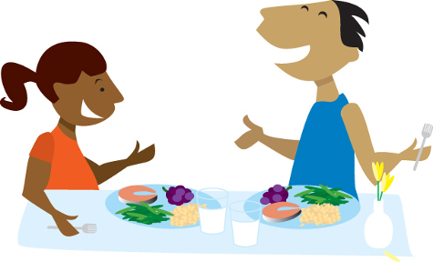 Cartoon image of a man and woman each with a plate of food and a glass of milk
