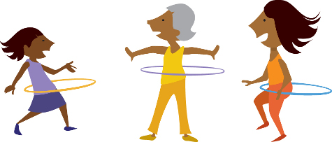 Cartoon image of two women and a child hula hooping