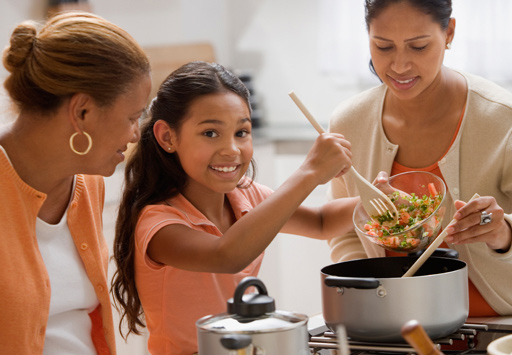Family cooking a healthy meal