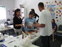 Parent and child participants prepare a healthy recipe at the most recent Healthy Kids Clinic.