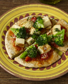 Pita pizza on a plate