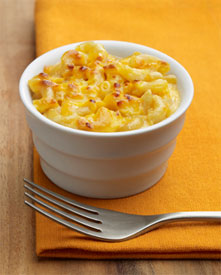 Classic macaroni and cheese in a small bowl