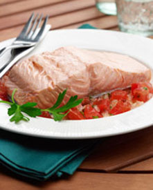 Poached salmon on a plate