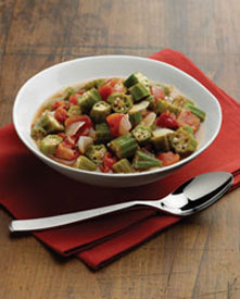 Spicy okra in a bowl
