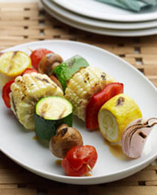 Grilled vegetable kabobs on a plate