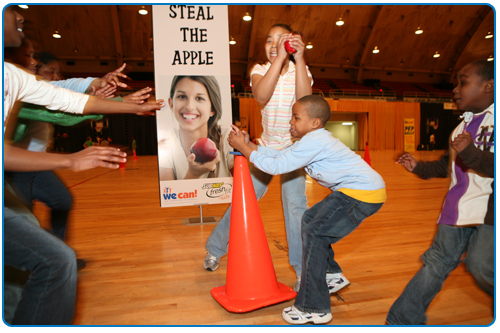 Photo of kids playing a game called Steal the Apple