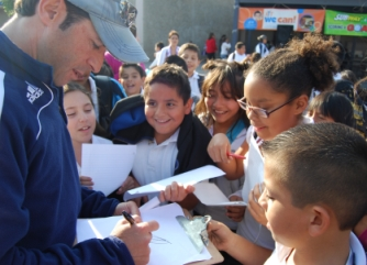 Tab Ramos in San Diego with students from Otay Elementary School