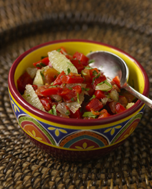 Tangy salsa in a bowl