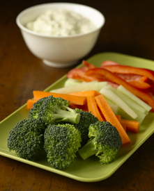Broccoli florets and sliced carrots, celery, and red peppers on a plate with a side of dip in a bowl
