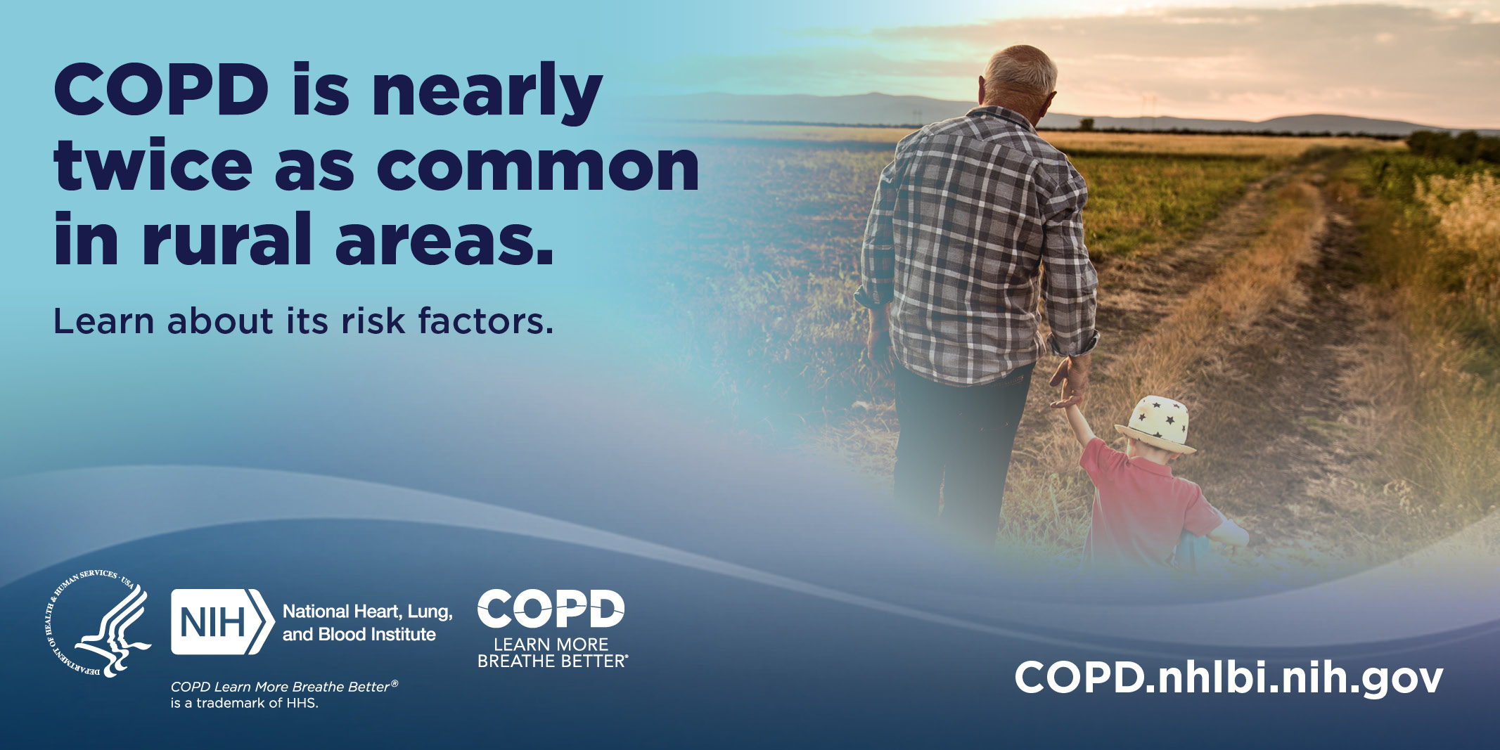 COPD is nearly twice as common in rural areas. Learn about its risk factors. COPD.nhlbi.nih.gov.
