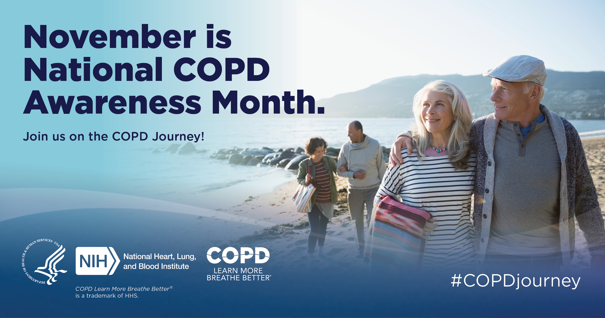 Image with text announcing National COPD Awareness Month. Couples on a beach with message: Image with text announcing National COPD Awareness Month.