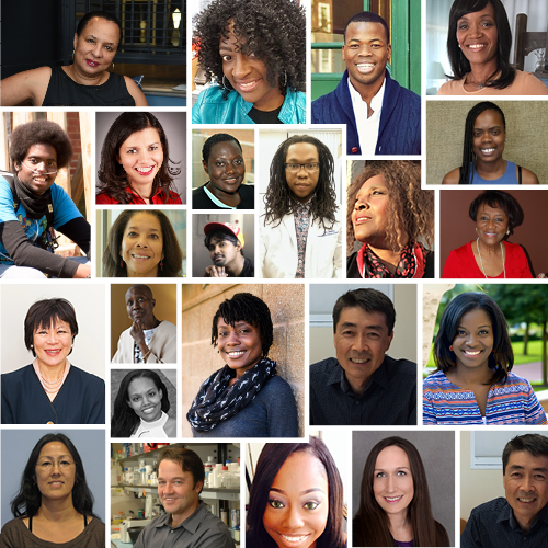 Collage of photos of sickle cell disease patients, doctors, researchers, advocates, family members.