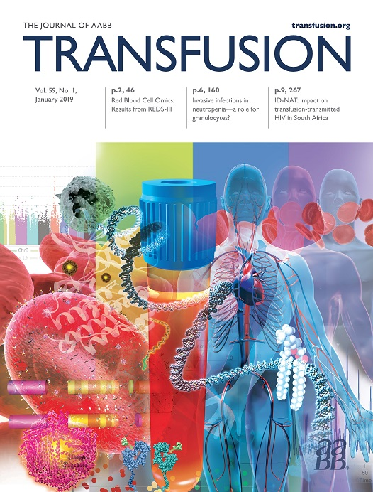 Image of the cover of the January edition of the Transfusion journal