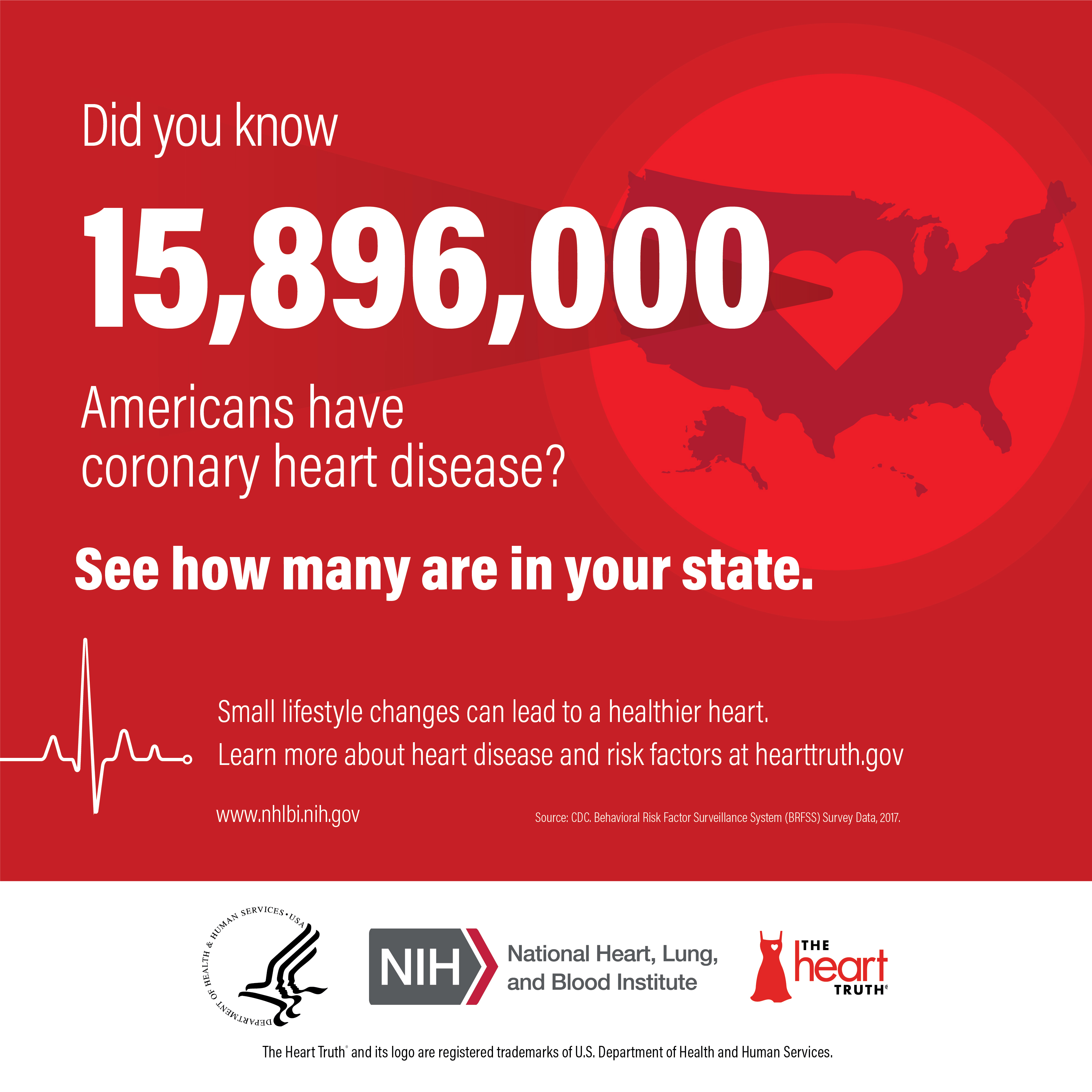 Infocard: Did you know 15896000 Americans have coronary heart disease? See how many are in your State