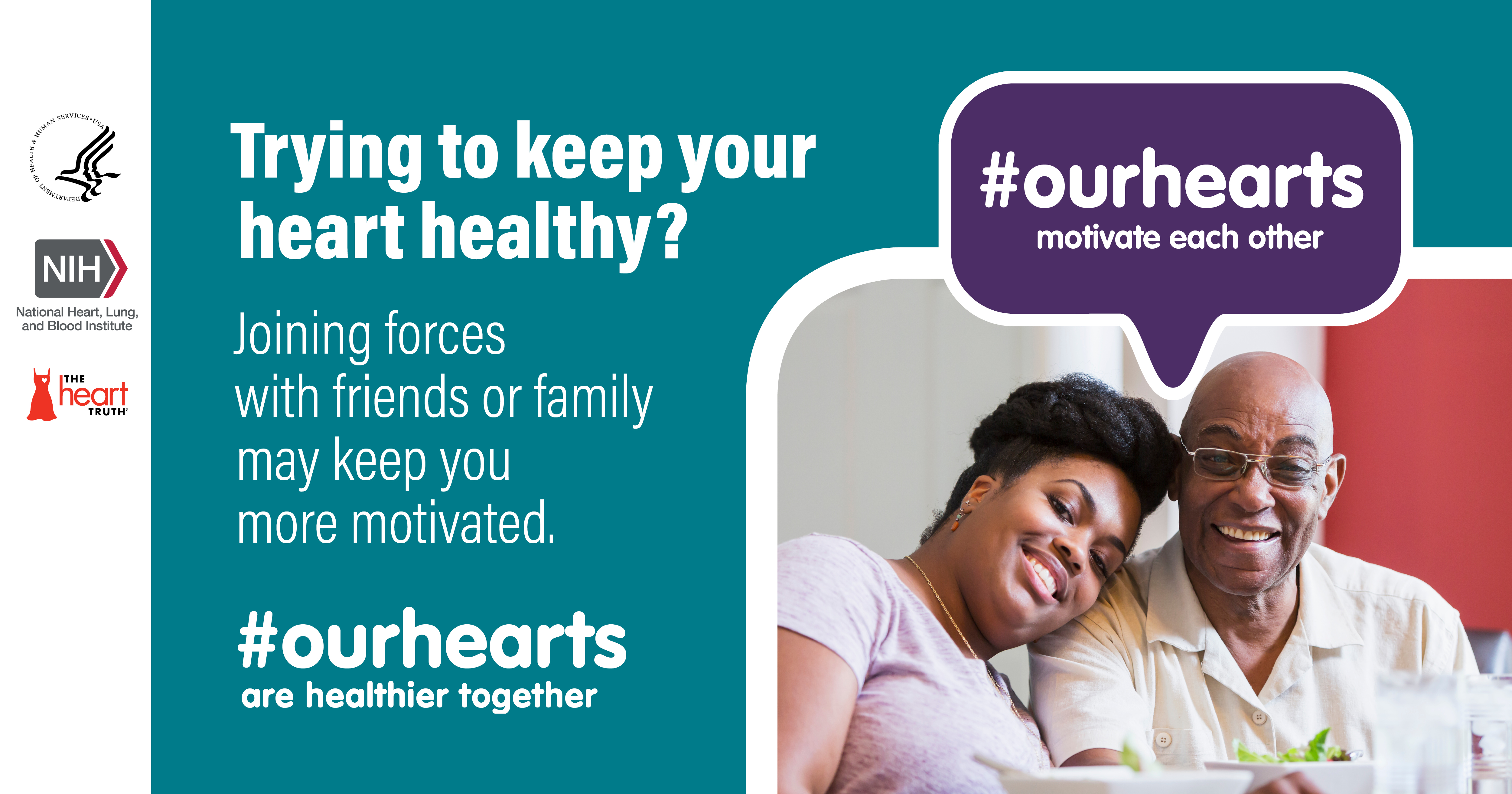 Social media infocard with tips for heart-healthy living: Joining forces with friends or family may keep you more motivated #ourhearts