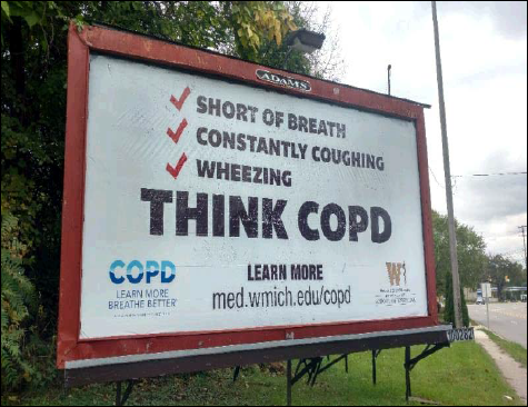 Image of a billboard with symptoms of COPD: short of breath, coughing and wheezing