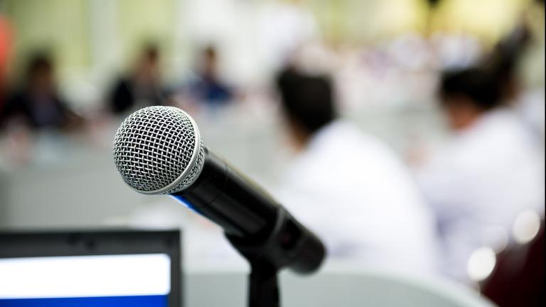 closeup microphone in conference room