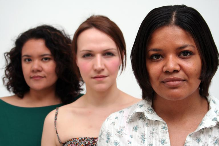 Stock picture of three women from different ethnic backgrounds