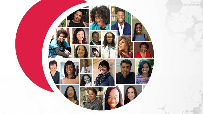 Promotional banner with collage of profiles for Faces of Sickle Cell series