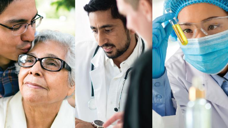 Collage of people from different backgrounds. Patients, doctors and researchers.