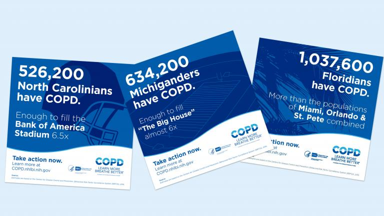 Sample of social media cards reading statistics of COPD