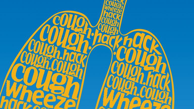 Illustration of words in the shape of lungs: cough, wheeze, hack.