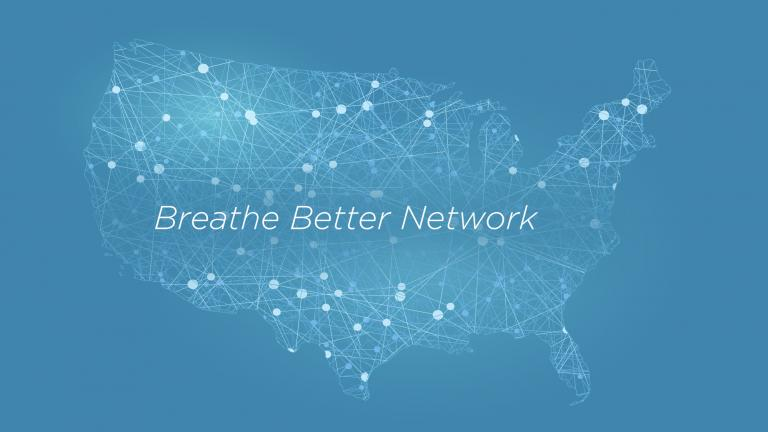 Illustration with map of the United States with the words Breathe Better Network