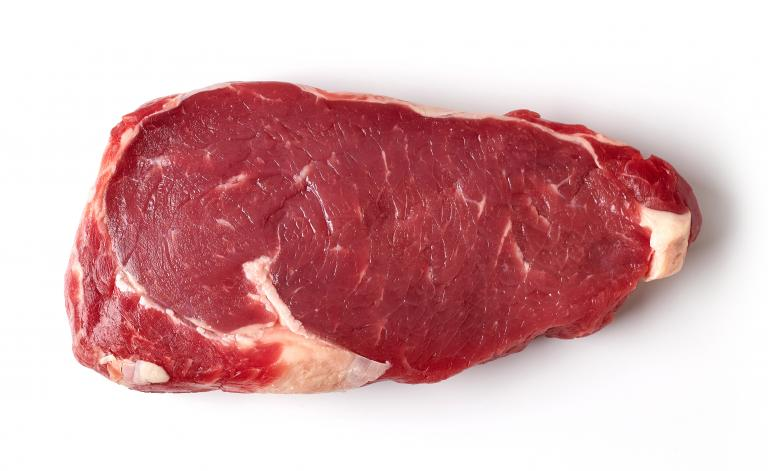 Photo of a steak red meat on the white background
