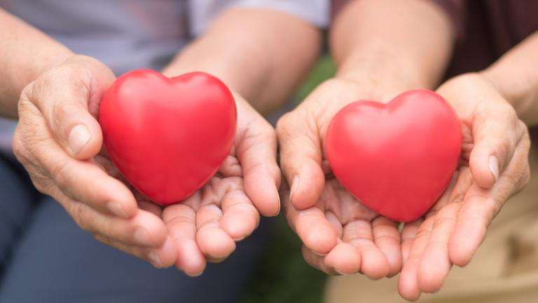 Close-up of two hands holding red heart-shaped objects