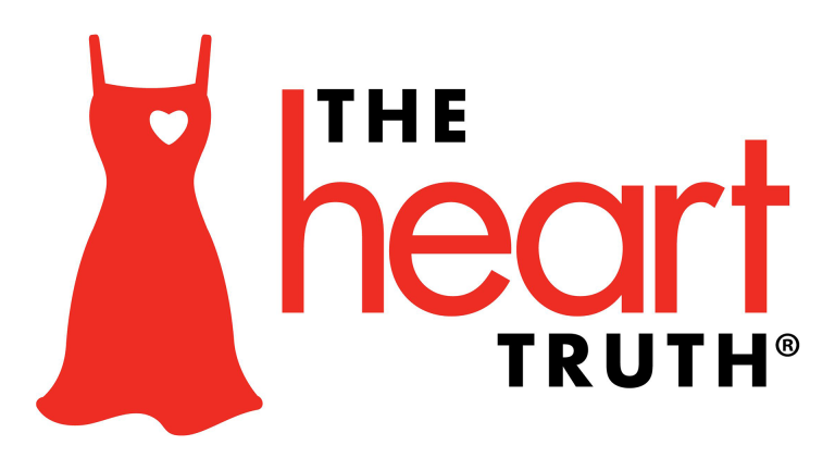 "Red dress with heart cut out next to ""the heart truth"" text"