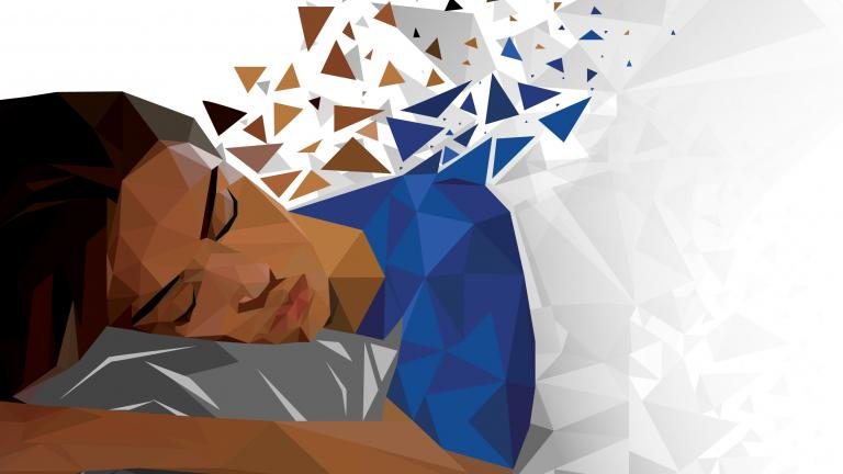 Illustration of woman of color sleeping on her side