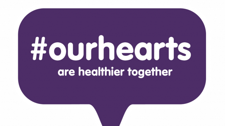 Logo for #OurHearts. Purple conversation bubble with hashtag. Reads #OurHearts are healthier together.