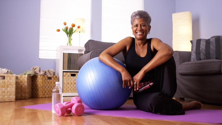 African american grandmother happy after working out
