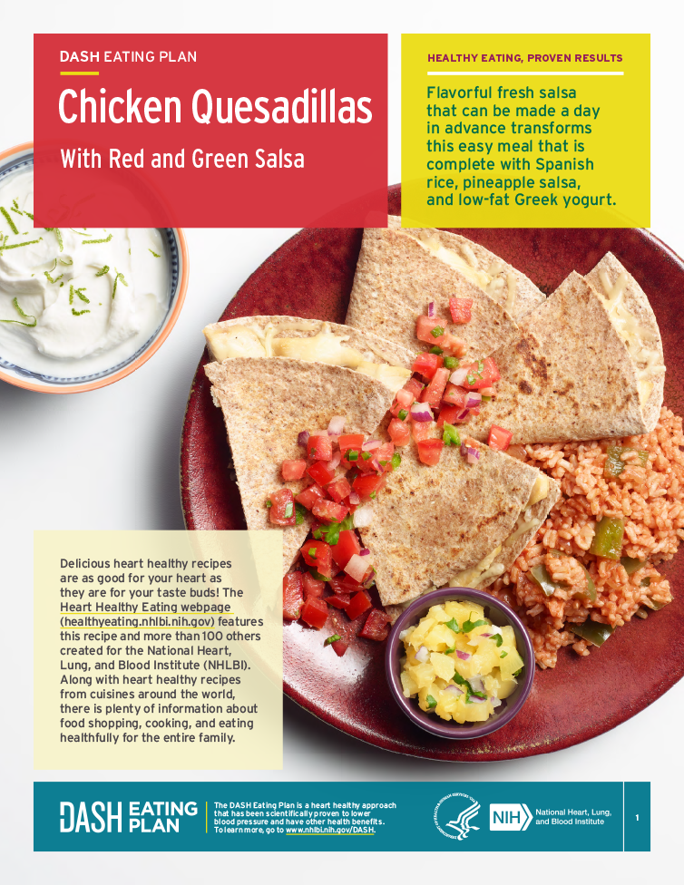 Try this heart-healthy recipe for chicken quesadillas with red and green salsa