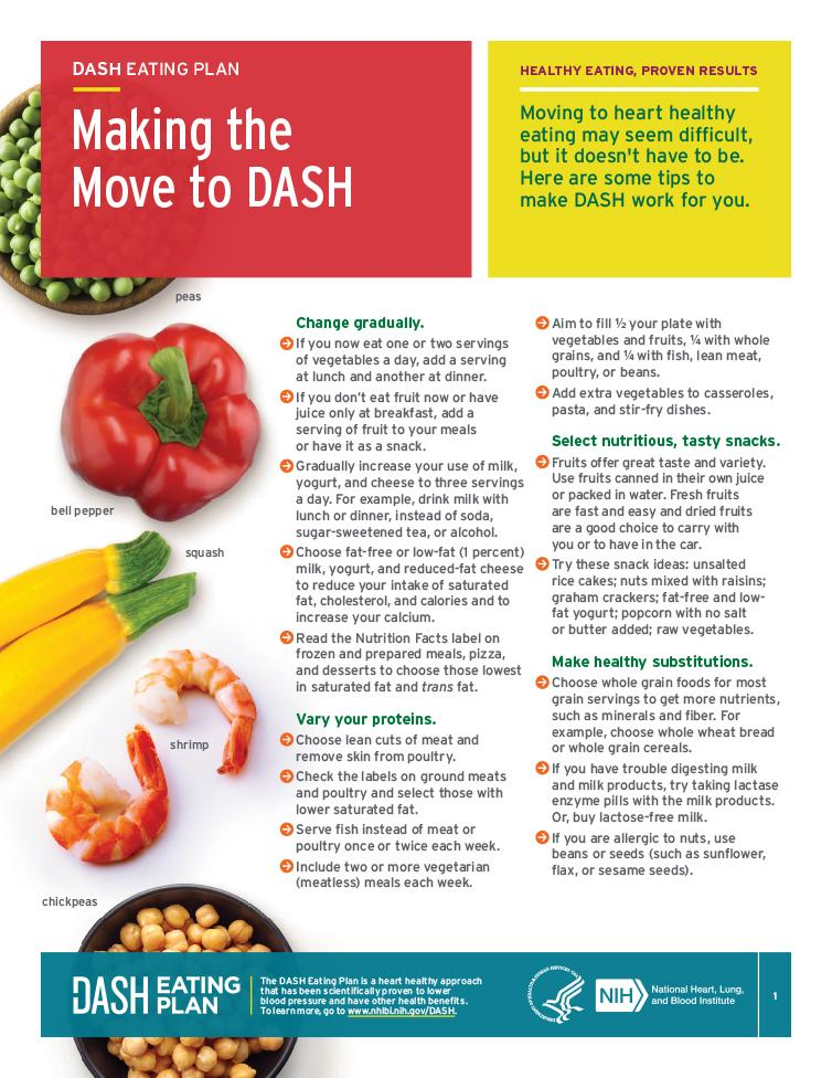 Tips to help you change to heart healthy eating with the DASH eating plan.