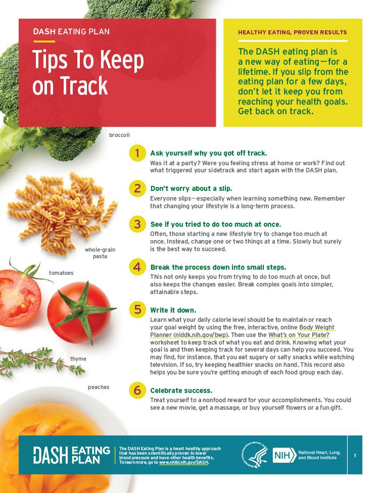 This fact sheets provides tips to keep you on track with the DASH eating plan.