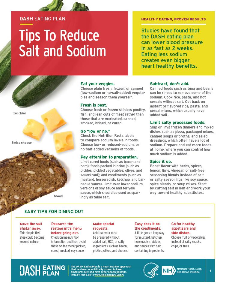 This fact sheets provides tips to help you reduce salt and sodium in your food choices.