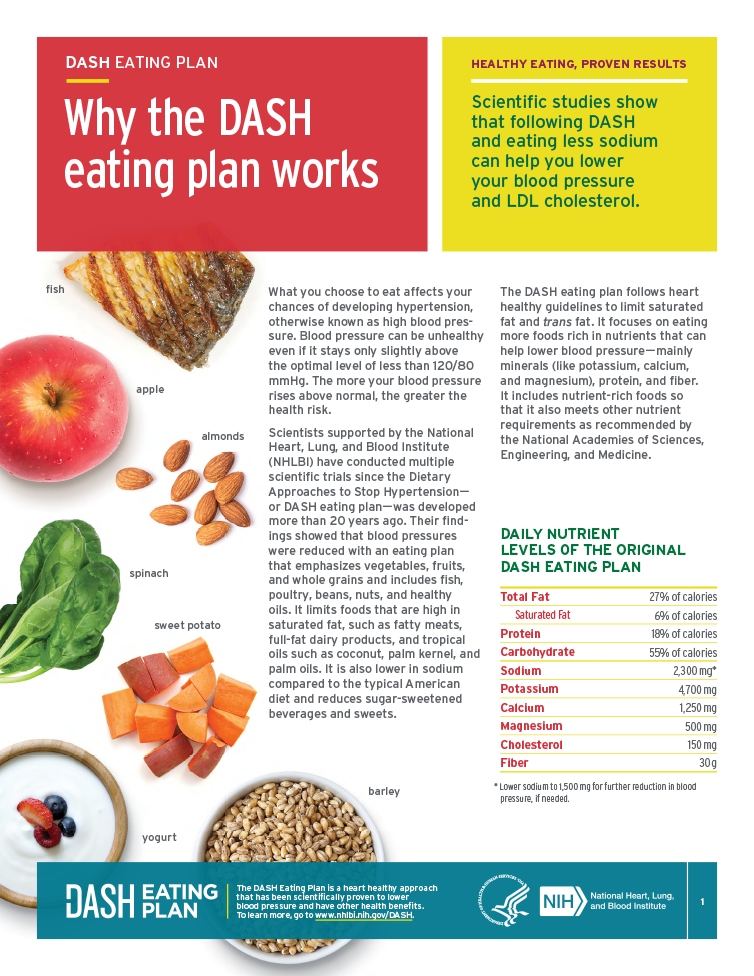 This fact sheets provides an overview of the DASH eating plan, which can help to lower blood pressure
