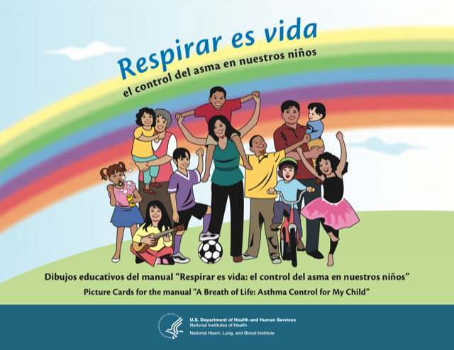 A Breath of Life: Asthma Control for My Child Picture Cards for Community Health Workers- Respirar es vida: el control del asma en nuestros niños dibujos educativos para promotores